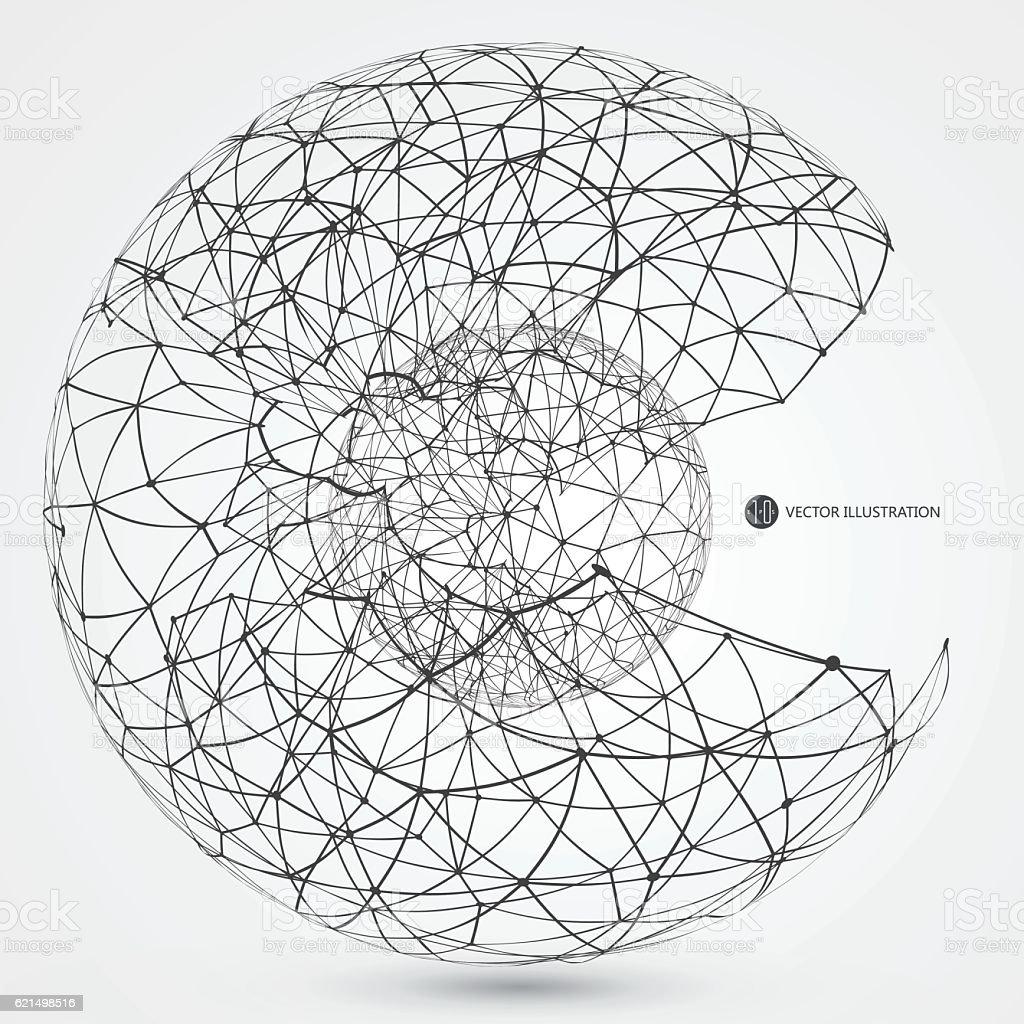 Linear connection made of circular abstract image. Lizenzfreies linear connection made of circular abstract image stock vektor art und mehr bilder von dreidimensional