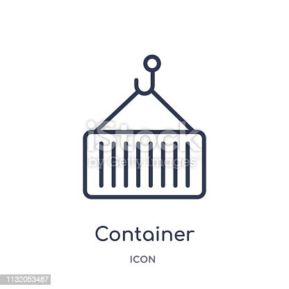 Linear container icon from Delivery and logistic outline collection. Thin line container vector isolated on white background. container trendy illustration