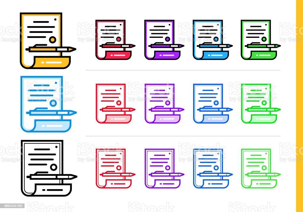 Icône de contrat linéaire pour les entreprises de démarrage en différentes couleurs. Éléments vectoriels pour site Web, application mobile - clipart vectoriel de Affaires libre de droits