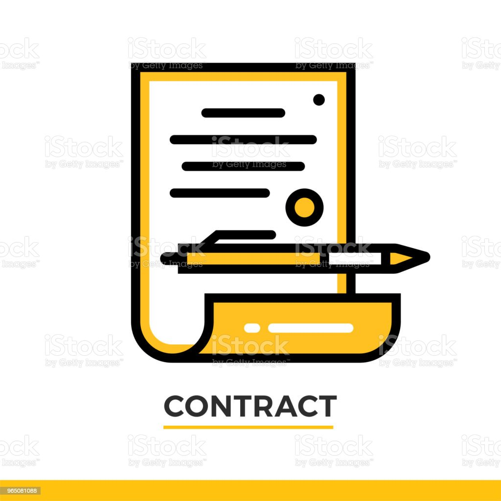 Linear contract icon. Pictogram in outline style. Vector modern flat design element for mobile application and web design. royalty-free linear contract icon pictogram in outline style vector modern flat design element for mobile application and web design stock vector art & more images of business