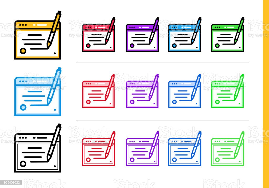 Linear copywriting icon for startup business in different colors. Vector elements for website, mobile application royalty-free linear copywriting icon for startup business in different colors vector elements for website mobile application stock vector art & more images of business