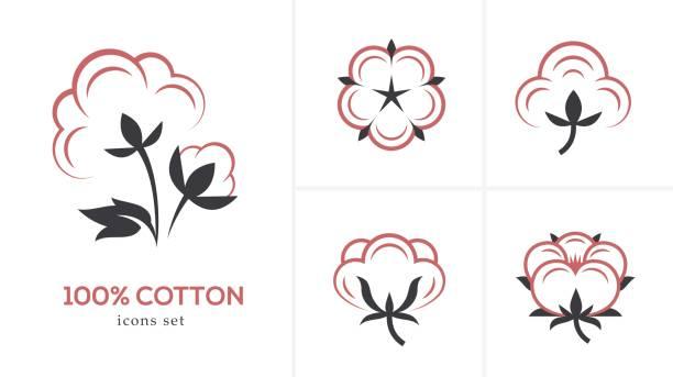 Linear cotton icon set. Linear cotton icon set isolated on white background. cotton stock illustrations
