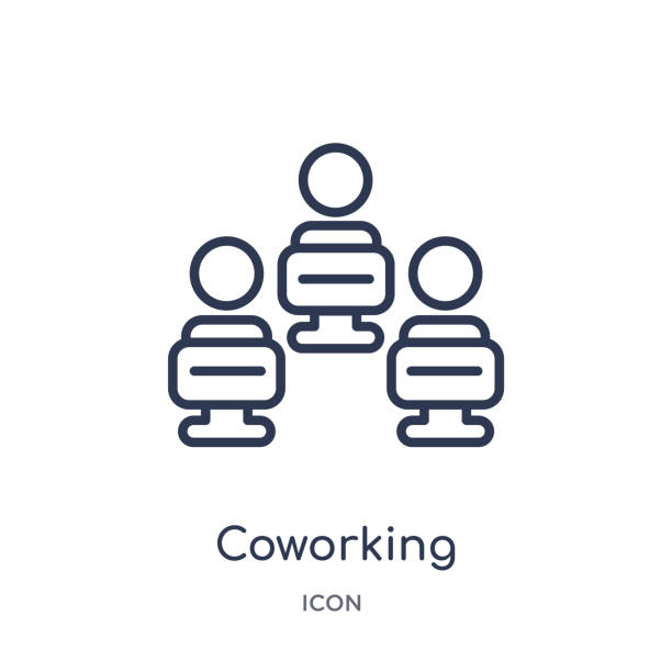 ilustrações de stock, clip art, desenhos animados e ícones de linear coworking icon from general outline collection. thin line coworking icon isolated on white background. coworking trendy illustration - coworking