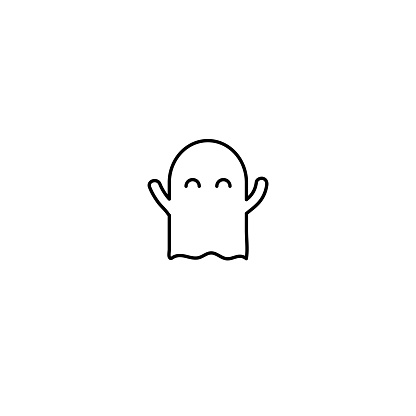 Linear Cute Ghost Icon Isolated On White Background Stock ...