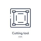 Linear cutting tool selection icon from Art outline collection. Thin line cutting tool selection icon isolated on white background. cutting tool selection trendy illustration