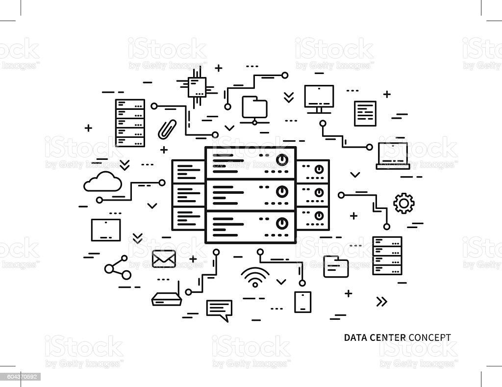 Linear data center server park hosting vector illustration vector art illustration