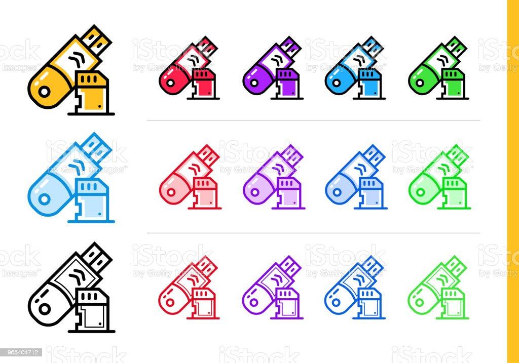 以不同顏色啟動業務的線性資料存儲圖示。網站的向量元素, 移動應用 - 免版稅商務圖庫向量圖形