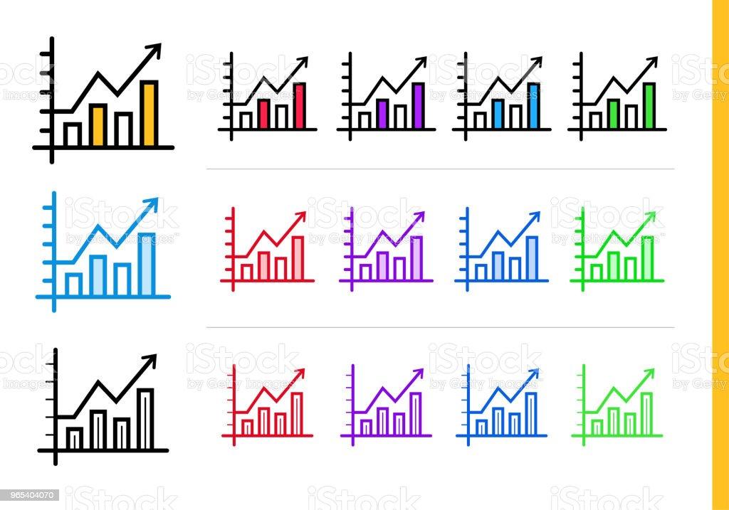 Icône du diagramme linéaire pour les entreprises de démarrage en différentes couleurs. Éléments vectoriels appropriés pour site Web, application mobile et présentation - clipart vectoriel de Affaires libre de droits