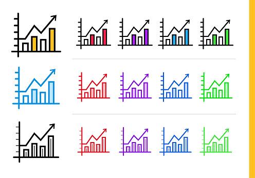 다른 색상으로 시작 비즈니스에 대 한 선형 다이어그램 아이콘 웹사이트 모바일 응용 프로그램 및 프레 젠 테이 션에 대 한 적합 한 벡터 요소 0명에 대한 스톡 벡터 아트 및 기타 이미지