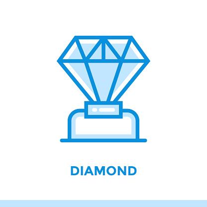 새로운 사업에 대 한 선형 다이아몬드 아이콘입니다 개요 스타일에서 그림입니다 벡터 현대 평면 아이콘 인쇄 프레 젠 테이 션 및 웹 사이트에 적합 0명에 대한 스톡 벡터 아트 및 기타 이미지