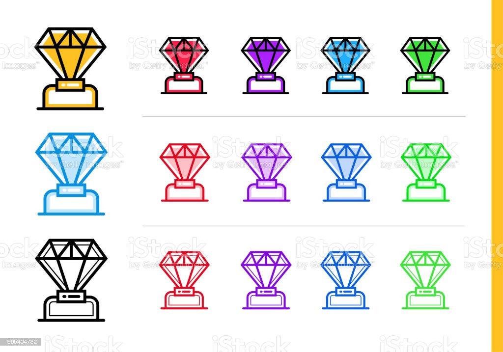 Icône de diamant linéaire pour les entreprises de démarrage en différentes couleurs. Éléments vectoriels appropriés pour site Web, application mobile et présentation - clipart vectoriel de Affaires libre de droits
