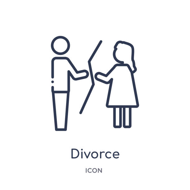 Linear divorce icon from Law and justice outline collection. Thin line divorce icon isolated on white background. divorce trendy illustration Linear divorce icon from Law and justice outline collection. Thin line divorce icon isolated on white background. divorce trendy illustration alimony stock illustrations