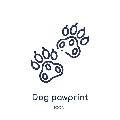Linear Dog Pawprint Icon From Charity Outline Collection