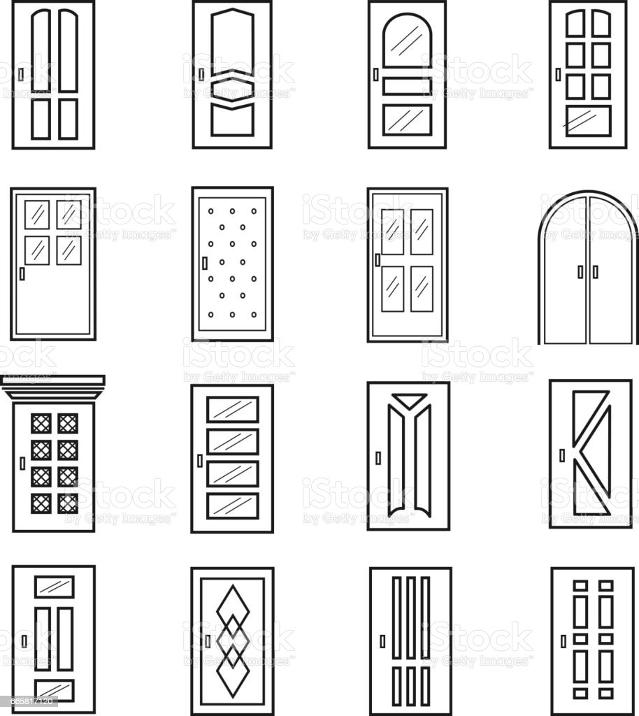 Linear door icons. Thin outline line doors of elevator and entrance metro and saloon  sc 1 st  iStock & Linear Door Icons Thin Outline Line Doors Of Elevator And Entrance ...