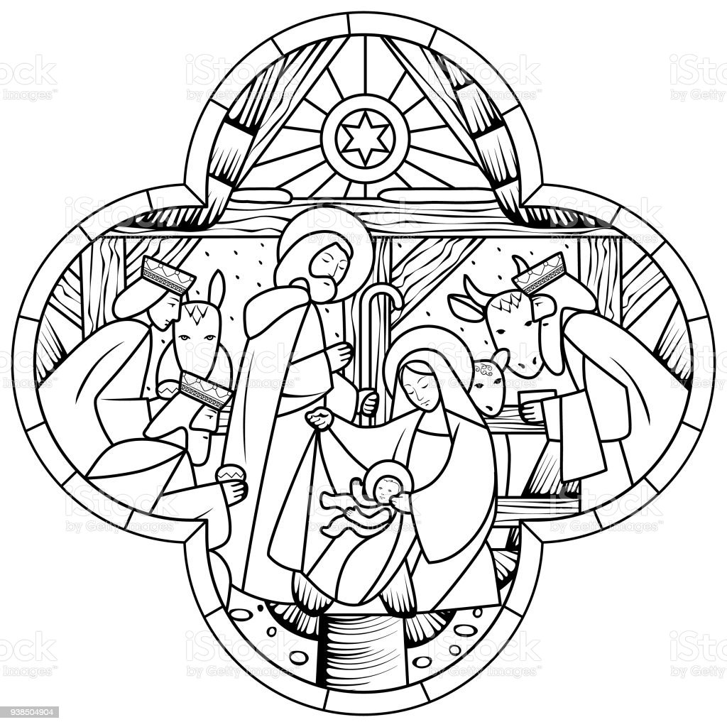 Christmas Jesus Birth Drawing.Linear Drawing Of Birth Of Jesus Christ Scene In Cross Shape
