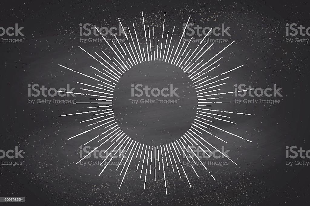 Linear drawing of light rays, sunburst vector art illustration