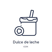 Linear dulce de leche icon from Food and restaurant outline collection. Thin line dulce de leche icon isolated on white background. dulce de leche trendy illustration