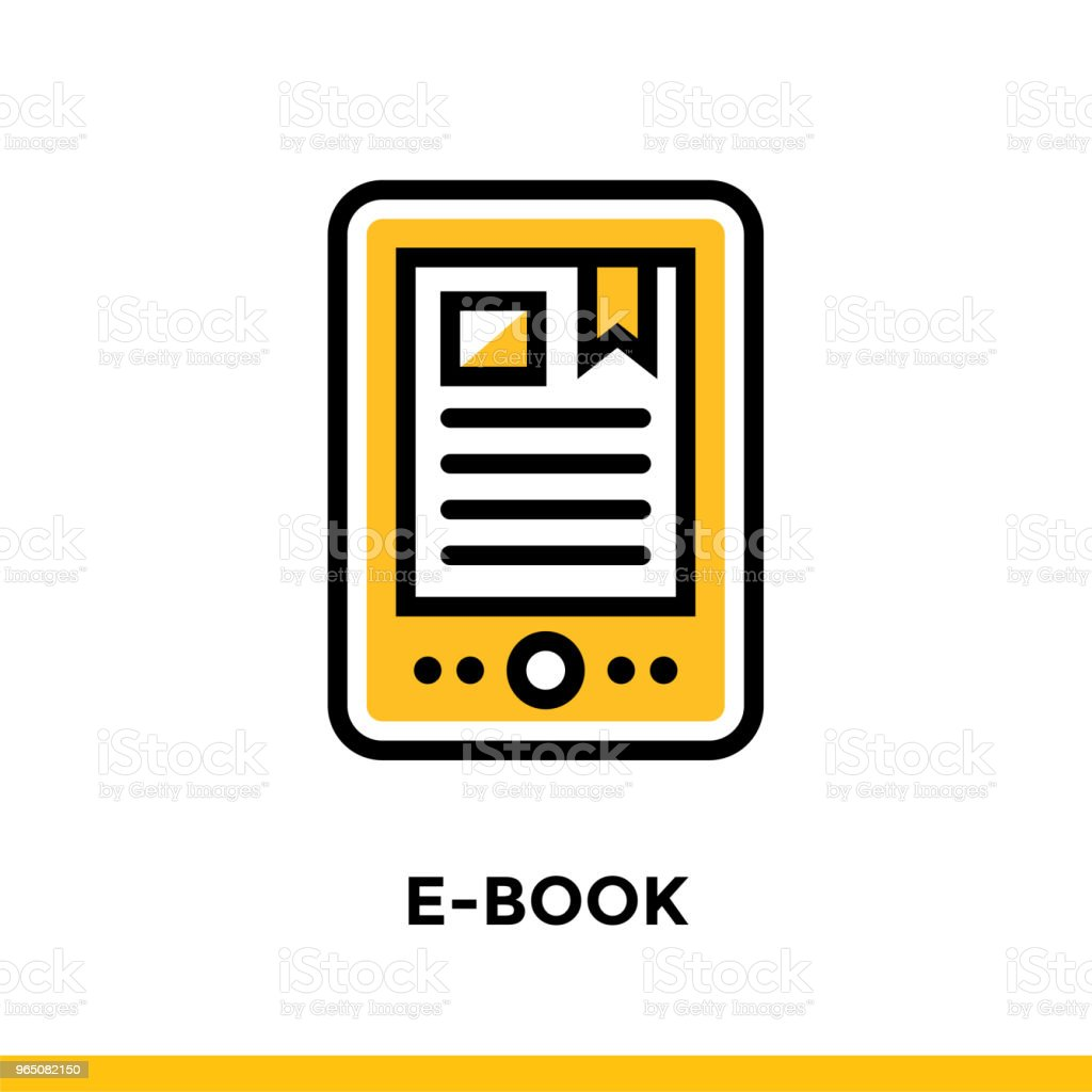 Linear E-BOOK icon for education. Pictogram in outline style. Vector modern flat design element for mobile application and web design royalty-free linear ebook icon for education pictogram in outline style vector modern flat design element for mobile application and web design stock vector art & more images of design