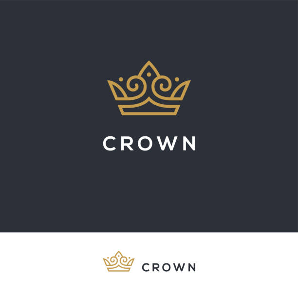 Linear elegant crown icon. Linear elegant crown icon in golden color. Royal, luxury vintage symbol. crown headwear stock illustrations