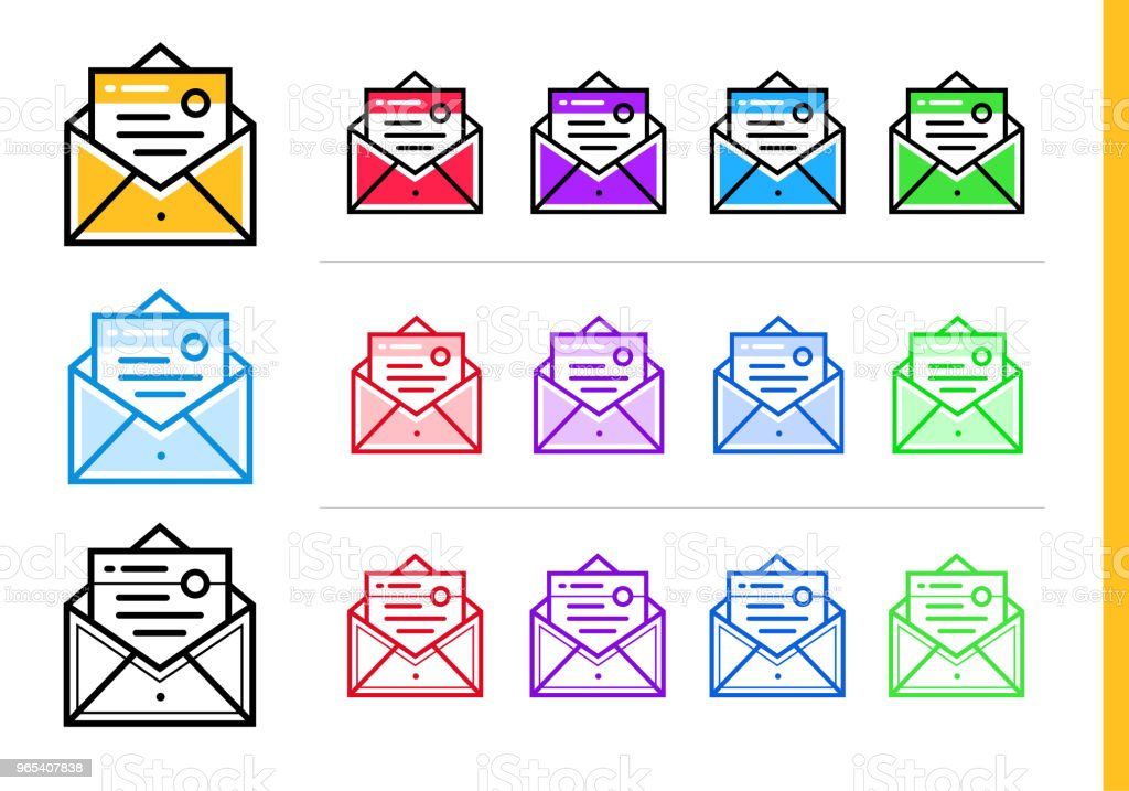 Linear email marketing icon for startup business in different colors. Vector elements for website, mobile application linear email marketing icon for startup business in different colors vector elements for website mobile application - stockowe grafiki wektorowe i więcej obrazów bez ludzi royalty-free