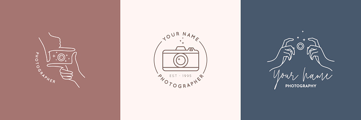 Linear emblem of the photographer. Women's Hands hold the camera shutter. Vector badge for a photo Studio