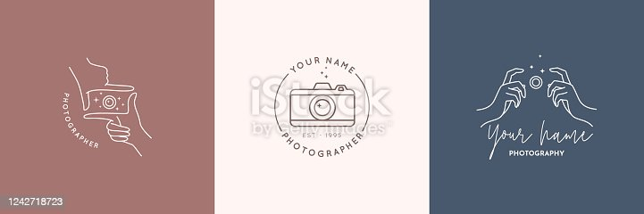 istock Linear emblem of the photographer. Women's Hands hold the camera shutter. Vector badge for a photo Studio 1242718723