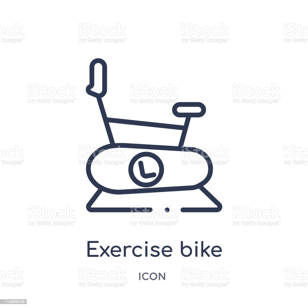 Linear exercise bike icon from Gym and fitness outline collection....