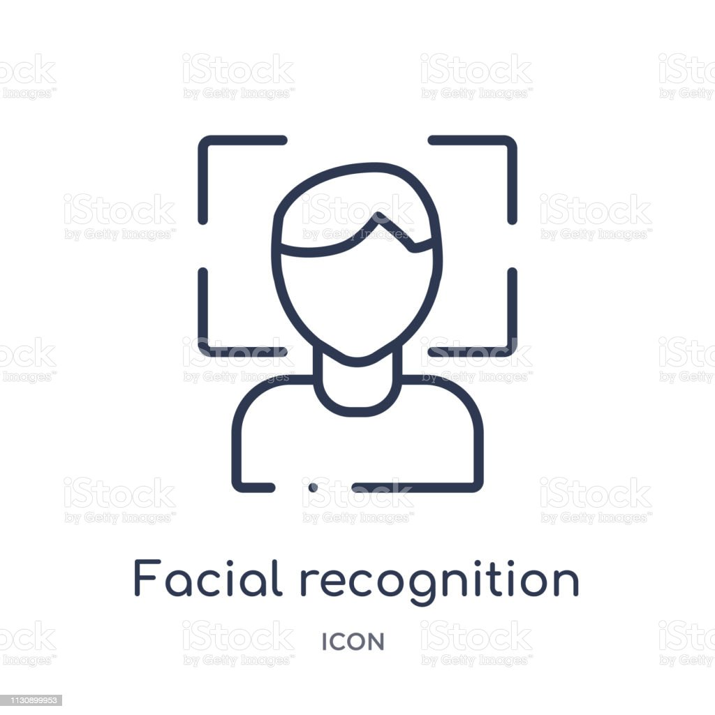 Linear facial recognition icon from Artifical intelligence outline collection. Thin line facial recognition vector isolated on white background. facial recognition trendy illustration vector art illustration