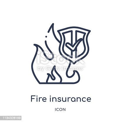Linear fire insurance icon from Insurance outline collection. Thin line fire insurance icon isolated on white background. fire insurance trendy illustration