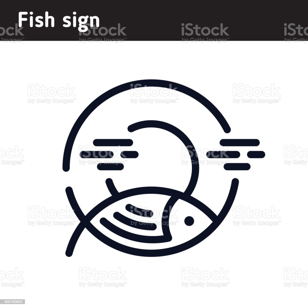 Linear fish symbol on the background of the sun stock vector art linear fish symbol on the background of the sun royalty free linear fish symbol on buycottarizona Gallery