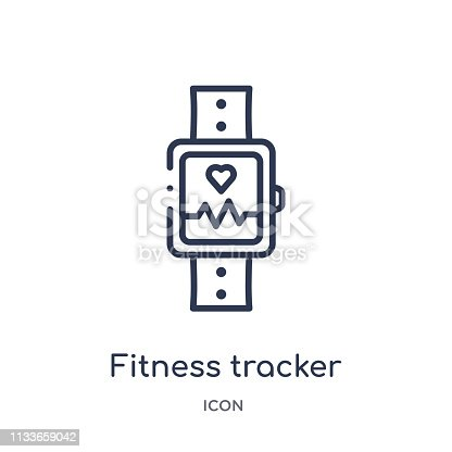 Linear fitness tracker icon from Gym and fitness outline collection. Thin line fitness tracker icon isolated on white background. fitness tracker trendy illustration