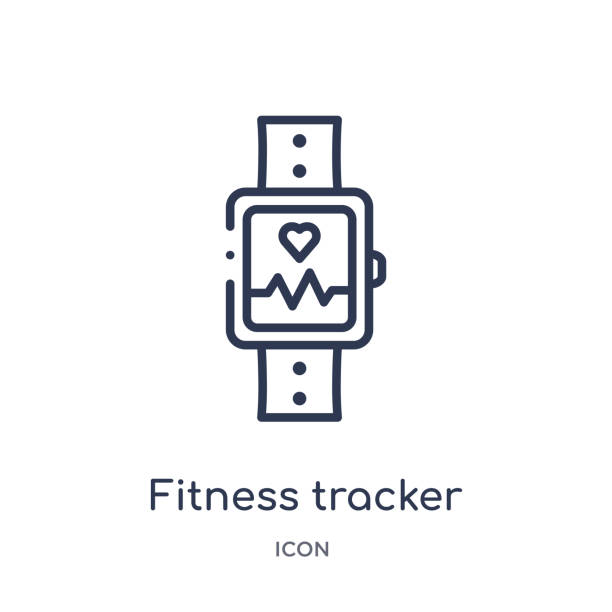 Linear fitness tracker icon from Gym and fitness outline collection. Thin line fitness tracker icon isolated on white background. fitness tracker trendy illustration Linear fitness tracker icon from Gym and fitness outline collection. Thin line fitness tracker icon isolated on white background. fitness tracker trendy illustration fitness tracker stock illustrations
