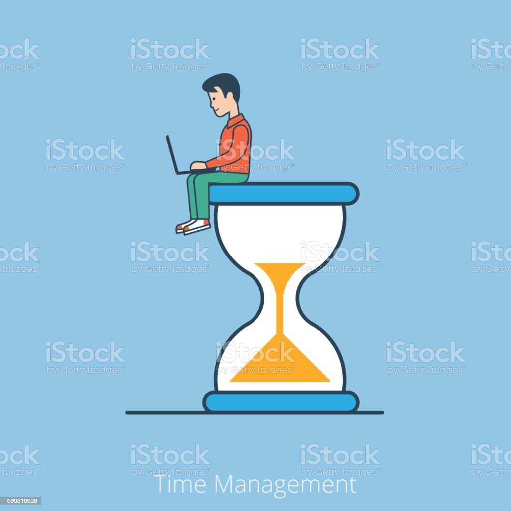 Linear Flat businessman with laptop sitting on big hyperbolic hourglass vector illustration. Business Time Management concept. vector art illustration