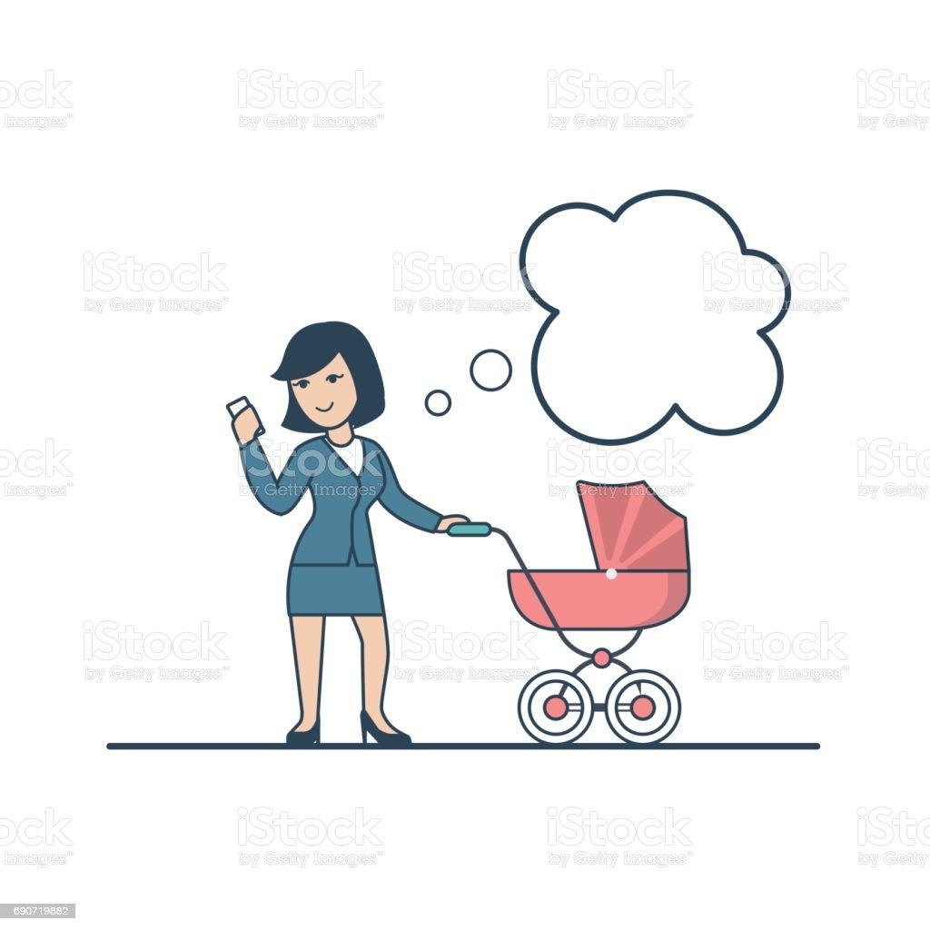 Linear Flat Businesswoman Walking With Pram Looking
