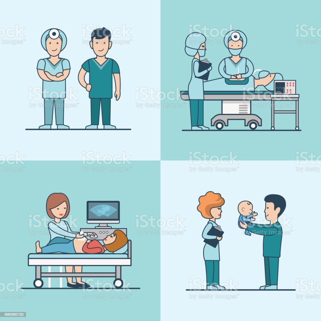 Linear Flat caesarian baby born surgery, ultrasonography vector illustration set. Child, happy father, pregnant woman and medical stuff characters. Health care, professional help concept. vector art illustration