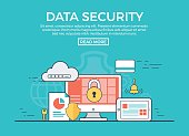 Linear flat Data Security infographics template and icons website hero image vector illustration. App programming technology and software concept. Blue background.