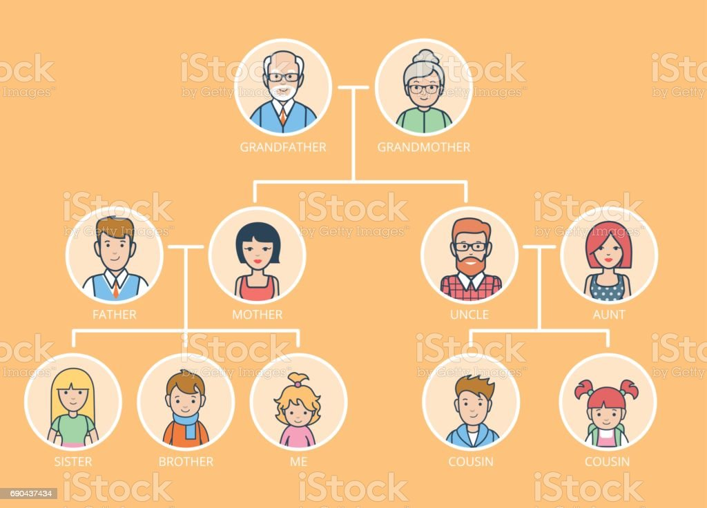 Linear Flat Family Tree infographics template vector illustration. Grandparents, parents, children connected with lines on yellow background. Genealogy concept. Linear Flat Family Tree infographics template vector illustration. Grandparents, parents, children connected with lines on yellow background. Genealogy concept. Adult stock vector