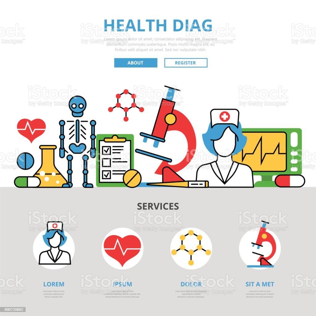 Ilustración de Plano Salud Diag Infografía Plantilla E Iconos Web ...