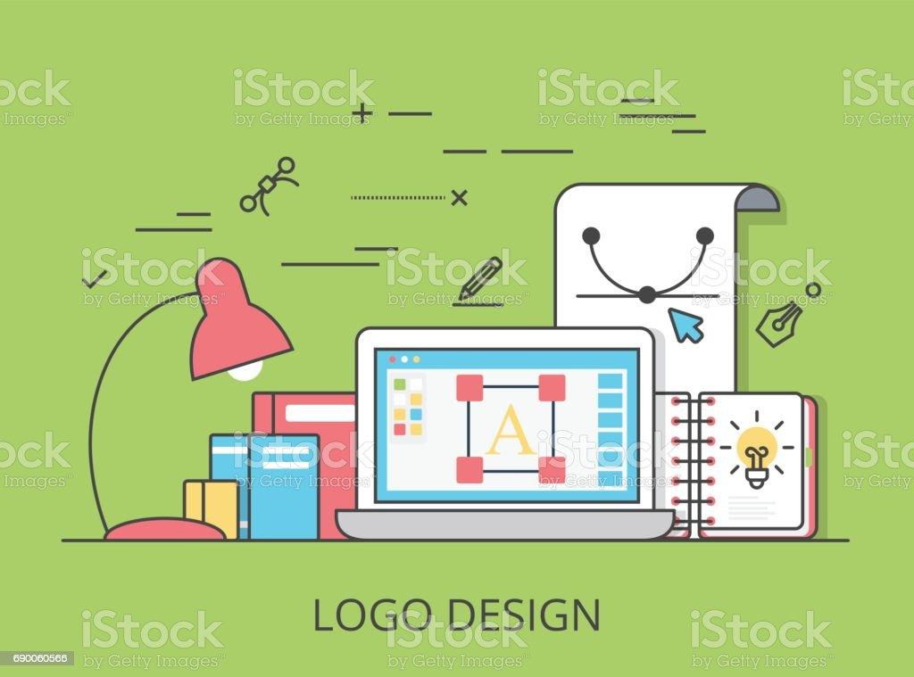 Conception linéaire icône plate, l identité et la marque illustration de  site Web héros 653470c3aa25