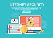 Linear flat Internet Security infographics template and icons website hero image vector illustration. App programming technology and software concept. Blue background.