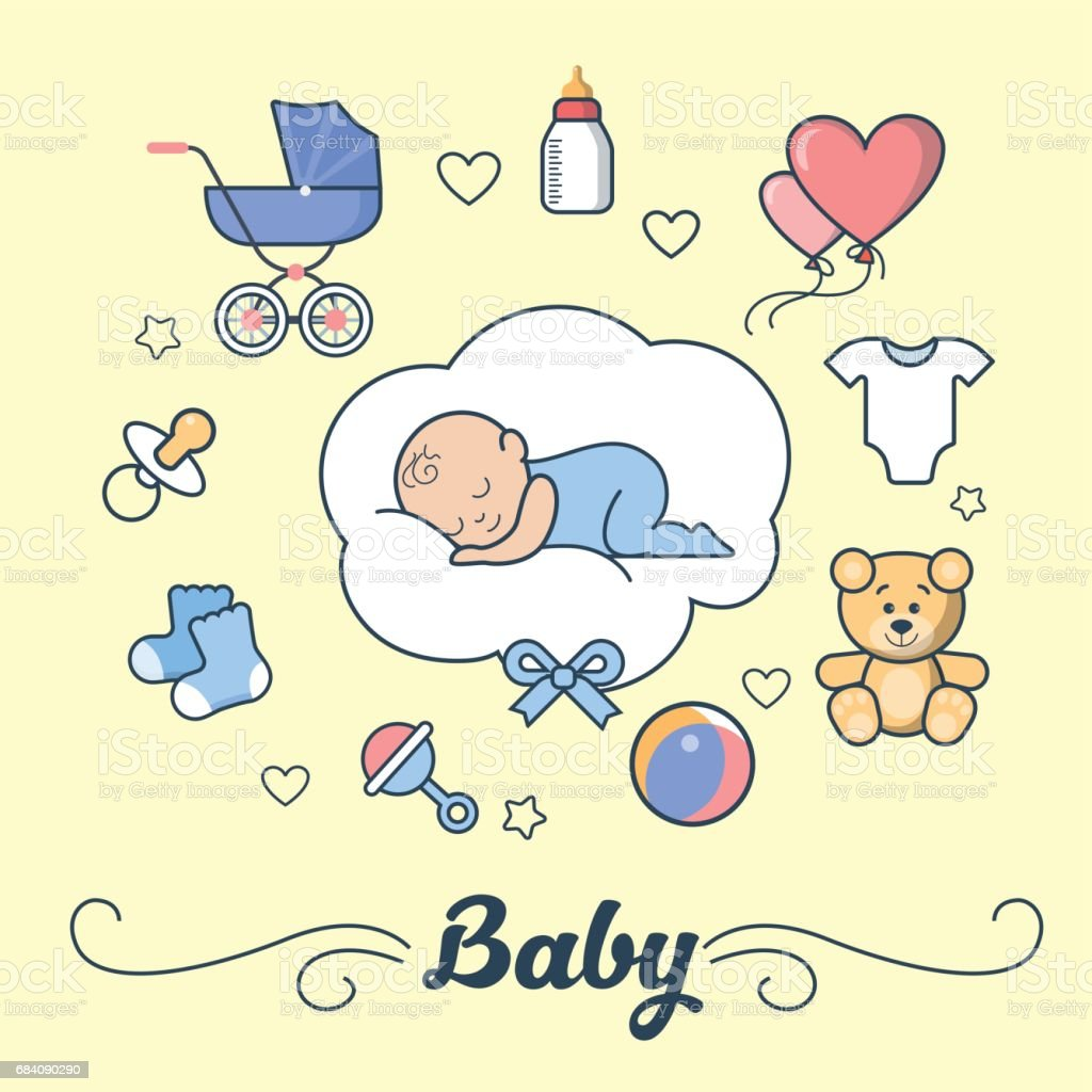 Linear Flat little Boy sleeping on cloud, First Year of Baby vector illustration. Template for Scrap booking hand made album or greeting card. Parenting and Newborn concept. vector art illustration