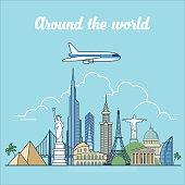Linear Flat Plane flying over world landmarks vector illustration. Pyramid, Coliseum, Eiffel Tower, Jesus, Pantheon, Burj Khalifa famous places and monuments.Travel around the world concept.
