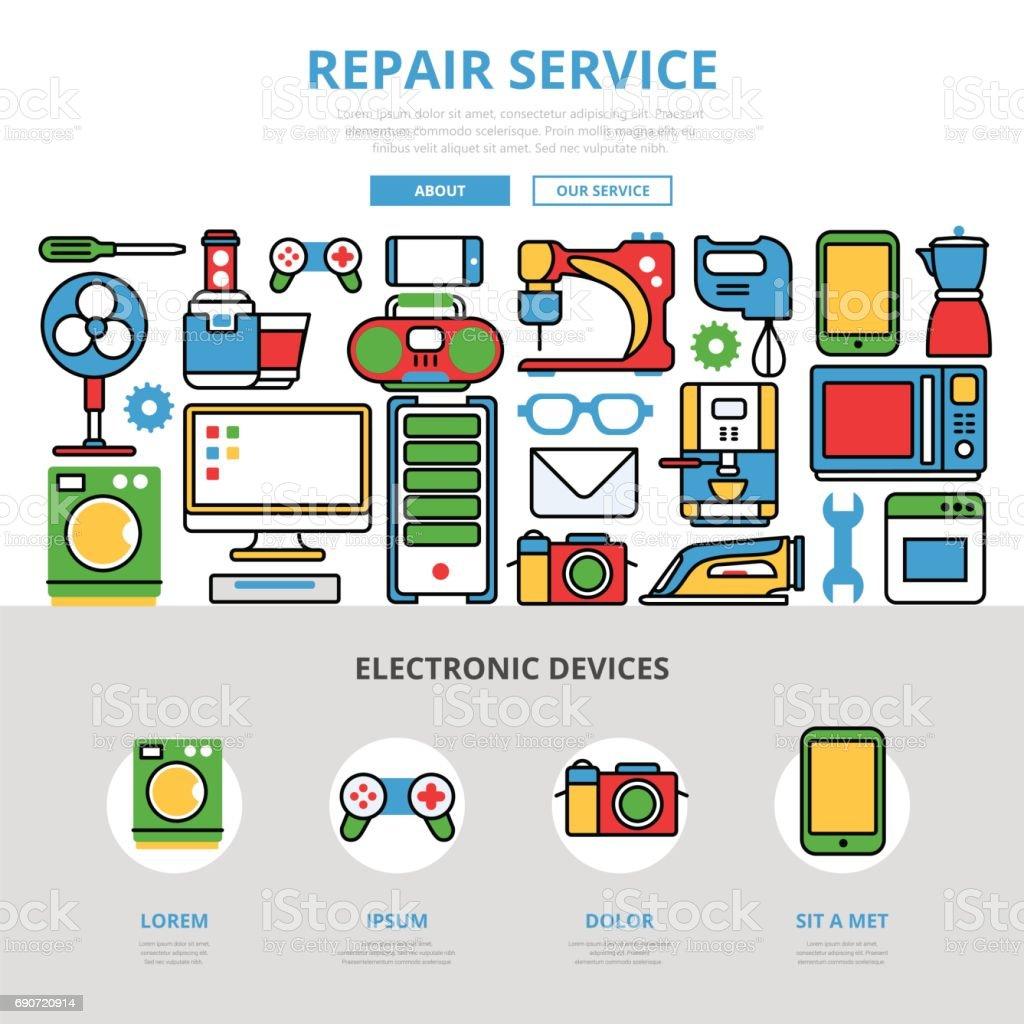 Linearen Flachen Reparatur Service Infografiken Vorlage Und Symbole ...