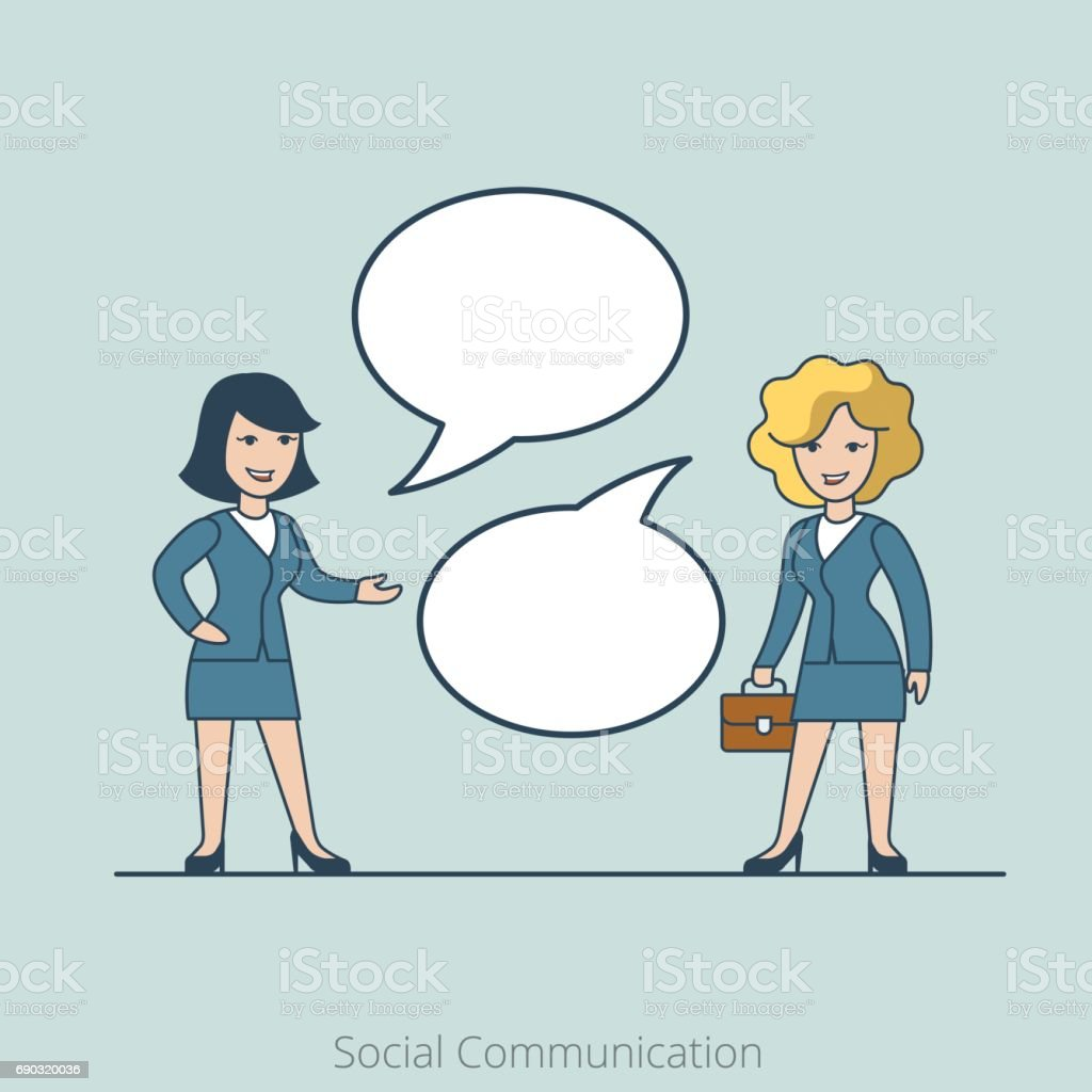 Linear Flat Two Businesswoman Chat Share Information Vector