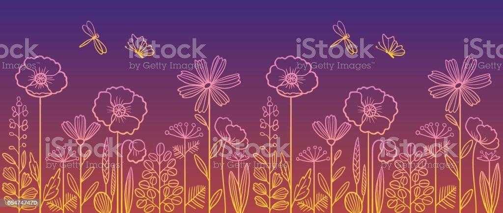 Lineare Blumenmuster. – Vektorgrafik