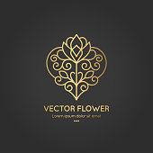 Linear flower emblem. Elegant, classic elements. Can be used for jewelry, beauty and fashion industry. Great for logo, monogram, invitation, flyer, menu, brochure, background, or any desired idea.