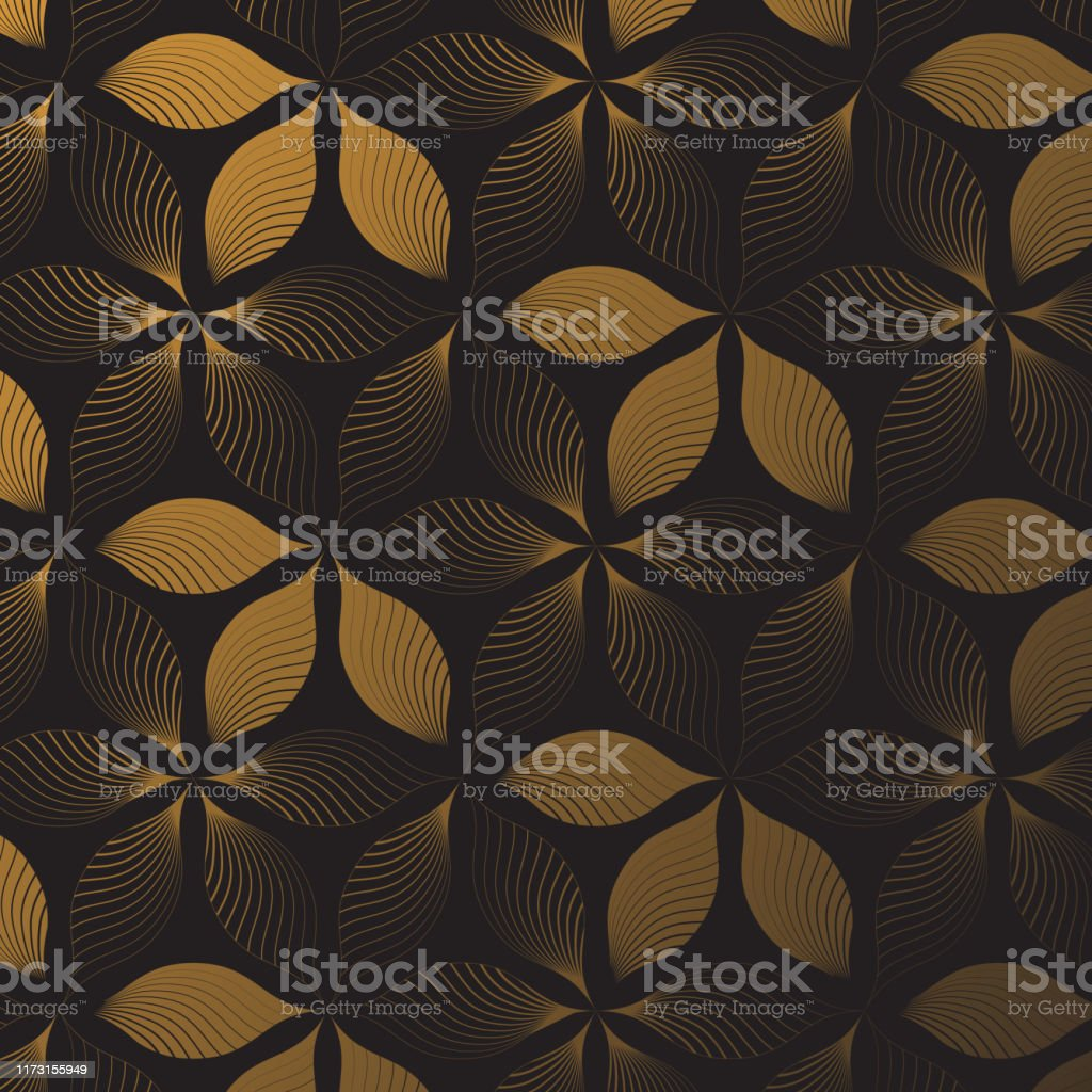 線形花ベクトルパターン暗い背景に抽象的な金色の花を繰り返しパターン