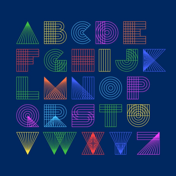 Linear font vector art illustration