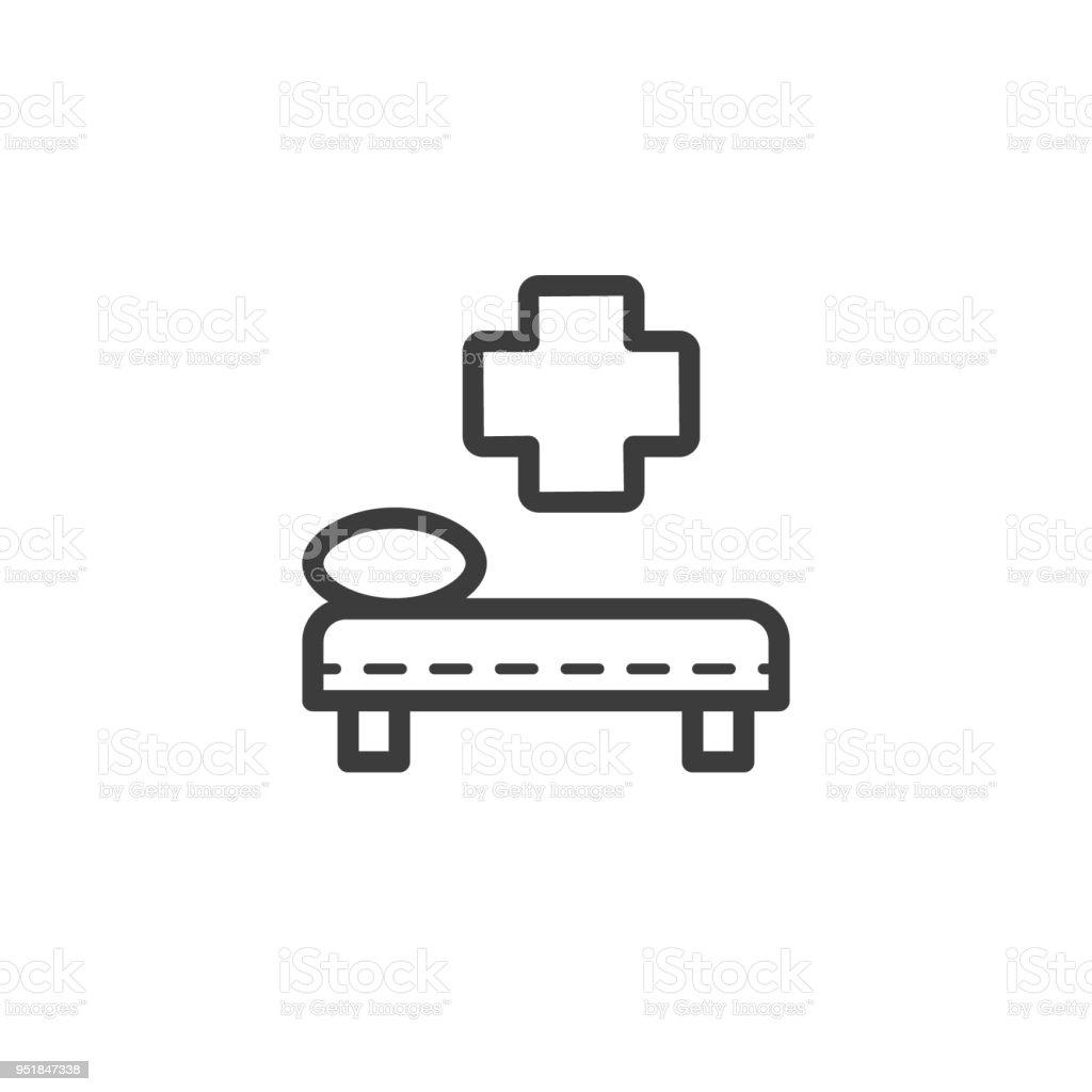 Icono De Cama De Hospital Sin Marco Lineal - Arte vectorial de stock ...