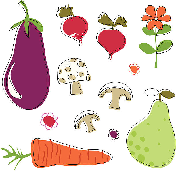 Linear fruit and vegetable selection vector art illustration